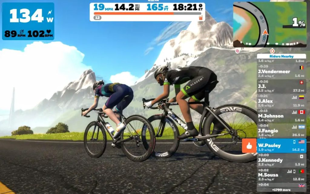 The Zwift Indoor cycling App