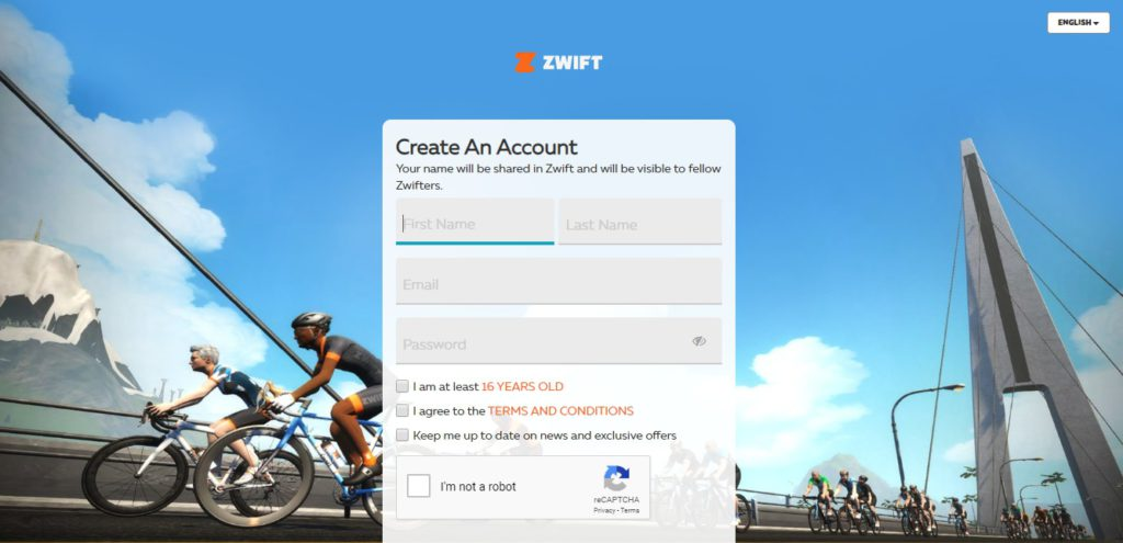 Creating a Zwift Account